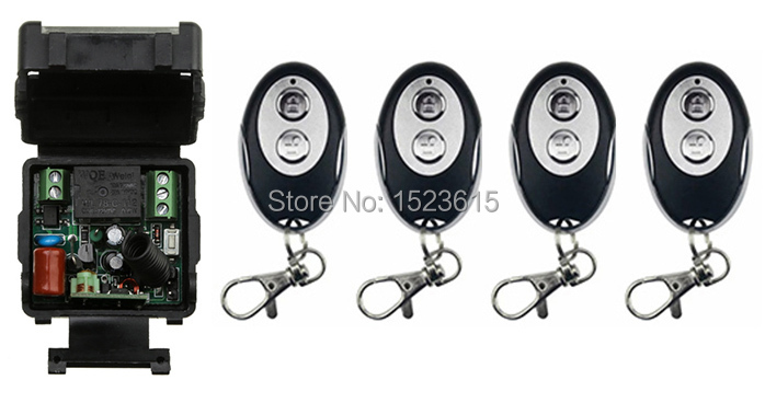 New AC220V 1CH RF Wireless Mini Switch Relay Receiver 4pcs ellipse shape Transmitters for Appliances Gate