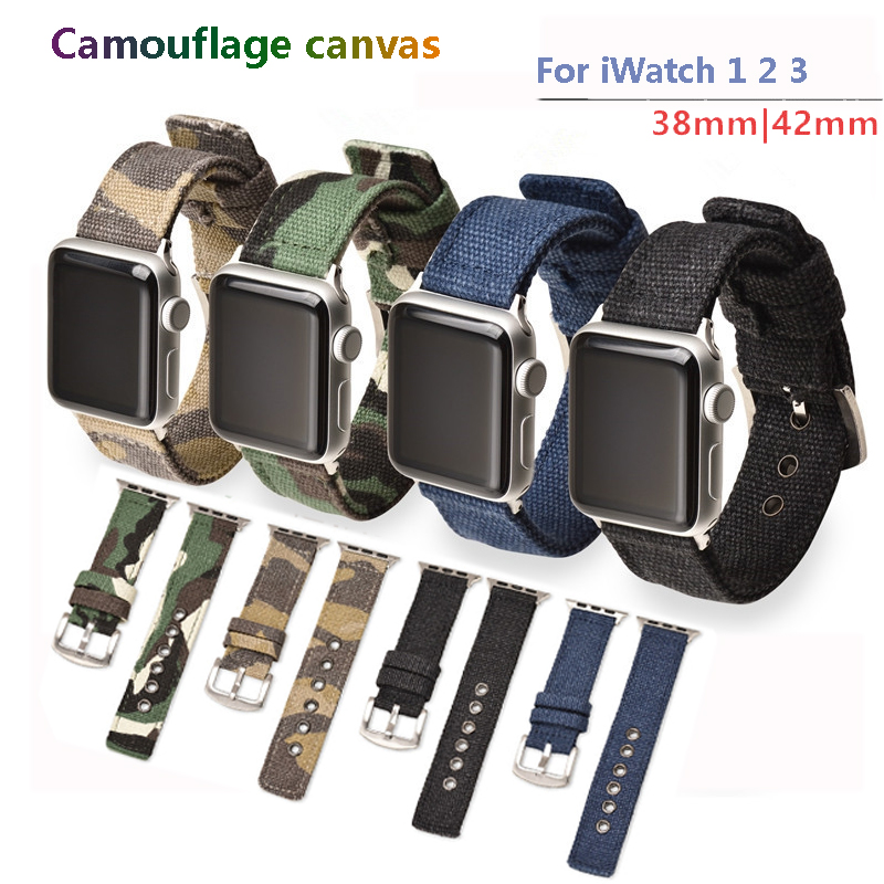 Sport nylon strap for apple watch band 42mm/38mm iwatch series 3 2 1 Camouflage canvas bracelet wrist belt watchbandSport nylon strap for apple watch band 42mm/38mm iwatch series 3 2 1 Camouflage canvas bracelet wrist belt watchband
