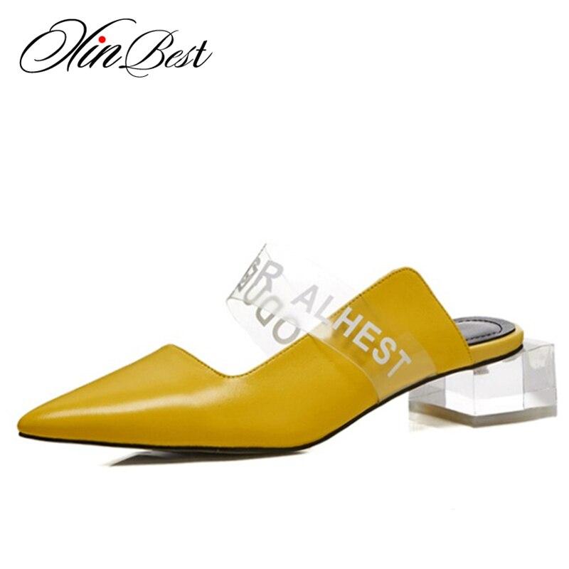 Schuhe Xinbest Sexy Echtem Transparent Damen Kristall gelb Gelb Schwarzes Outdoor Maultiere Frauen Spitz weiß Hausschuhe Leder rAxwHAqEP