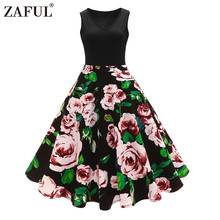 Floral Print High Waist Vintage Dress Women