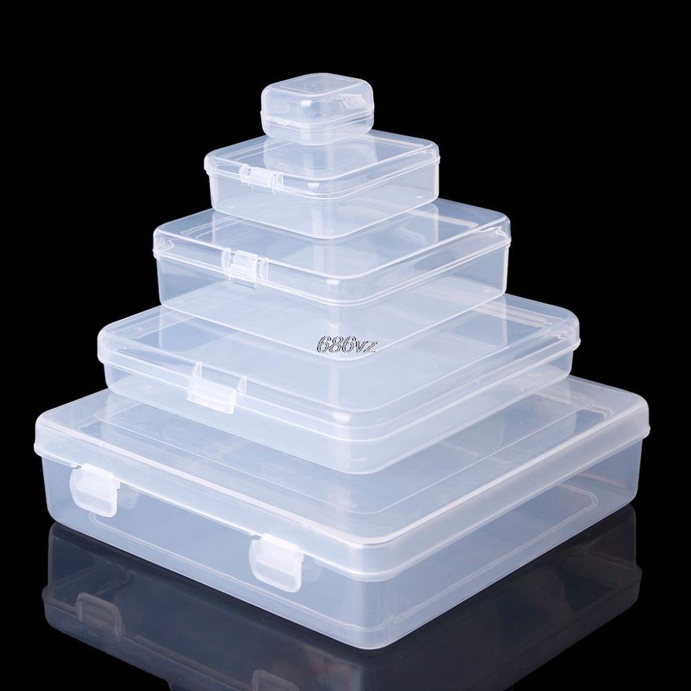 Square Transparent Plastic Jewelry Storage Boxes Beads Crafts Case Containers N24 Drop Ship