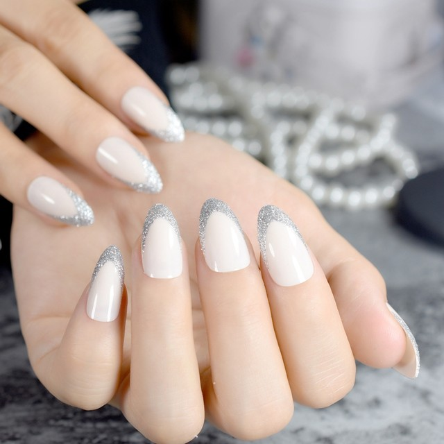 Beige STILETTO Shape Fake Nails Silver Glitter Point French Nail Parkly Lady Designed Tips Full Wrap 24pcs Kit