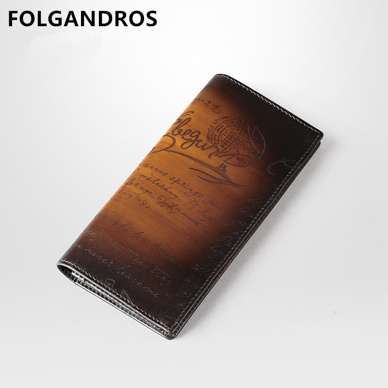2019 Brand Italian Cowhide Wallet Designer Handmade Lettering of Love Standard Long Wallet Large Capacity Genuine Leather Purse Wallets     - title=