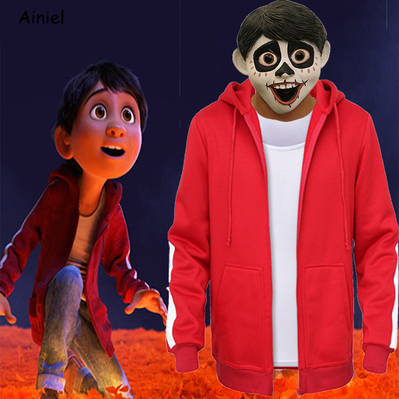 Anime Coco Miguel Cosplay Costume Red Coat Mask Vest Sweatshirts Red Hoodies Clothes Halloween Costumes Mask for Kids Adult Suit