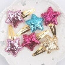 Новые 4 цвета блестящие звезды девушки BB клип длина 60 мм аксессуары для волос для детей заколки 1 шт