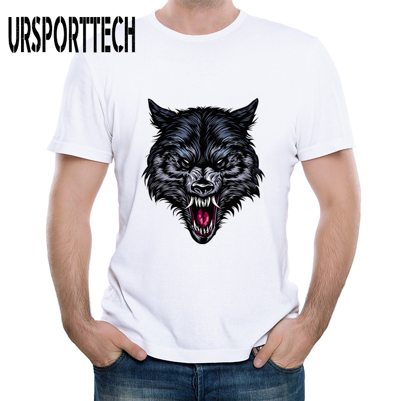 New Cartoon Wolf Animal Print T-shirt Men Summer 2019 Teens Fashion Tshirt Cute Head T Shirts Simple Design Tees
