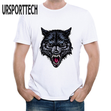 New Cartoon Wolf Animal Print T-shirt Men Summer 2019 Teens Fashion Tshirt Cute Head T Shirts Simple Design Tees
