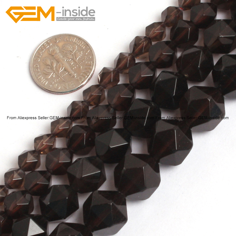 Gem-inside 6-12mm Natural Faceted Beads Cambay Smoky Quartzs Crystal Beads For Jewelry Making Beads 15inch DIY Beads Jewellery