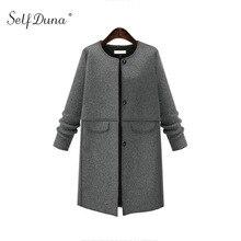 Здесь можно купить   Self Duna 2017 Autumn Winter Women Long Wool Blend Coat Pockets Covered Button Navy Loose Casual Woolen Overcoat Female Outwear Women