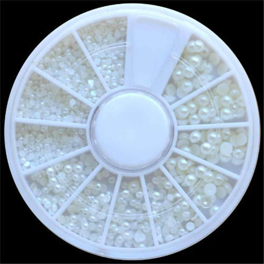 OutTop 1pc White Manicure Pearl Nail Art Stone Different Size Wheel Rhinestones Beads 2.25 x 2.25 inches wheel X0424 2 015