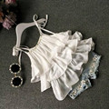 2017 Лето Корейской моды одежда девушки костюм Шифон торт слинг + брюки 2 шт. жемчужина цветок короткий топ джинсовые шорты дети набор