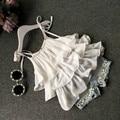 2017 Verão moda Coreano roupas meninas terno bolo Chiffon estilingue + calças 2 pcs pérola flor halter top shorts jeans crianças conjunto