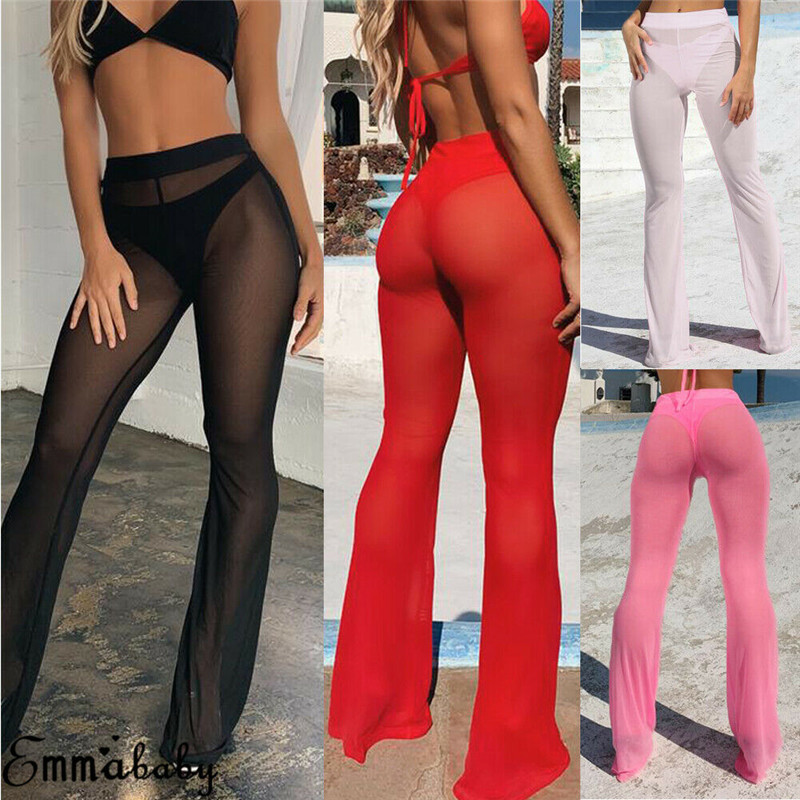 See Through Flared Mesh Summer Beach Long Pants 2019 New Women High Waist Pants Trousers