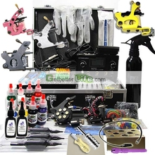 Professional tattoo Machine kit with Dual LCD Power 6 tattoo Guns/Grips/Needles free shipping