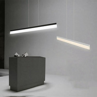 Long strip dining room pendant lamp, office led art pendant lamp