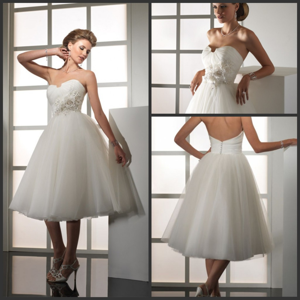 Gorgeous White A Line Tulle Tea Length Wedding Dresses