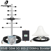 65dB gsm repeater cellular signal booster 900 3g 2100 MHz Dual band 900MHz 3G UMTS mobile cell phones signal Amplifier 2100 Kit