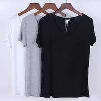 Womens Top Modal Short Sleeve O Neck T Shirt All Match Tee Black Gray White T