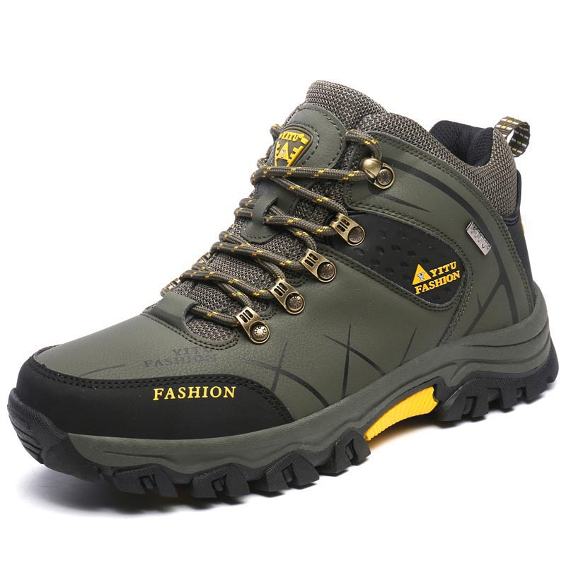 New Waterproof Men Hiking Shoes High Top Trekking Boots Autumn Winter Mountain Climbing Sports Sneakers Big Large Size 45 46 humtto new hiking shoes men outdoor mountain climbing trekking shoes fur strong grip rubber sole male sneakers plus size