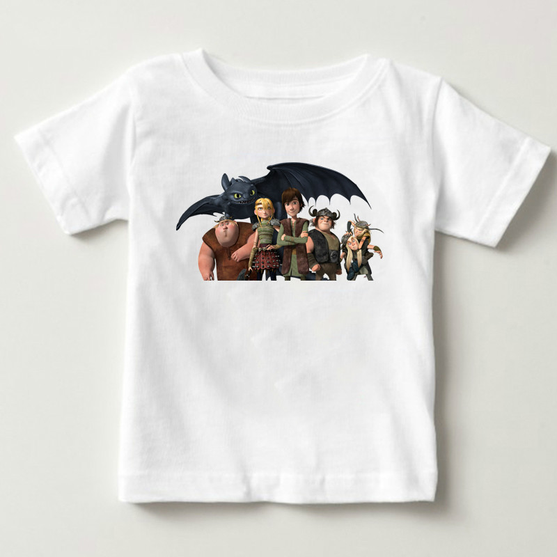 2019 Pocket Toothless T-shirt Men Cute Tops How To Train Your Dragon Cartoon Tees Summer Children's White Clothes Tshirt