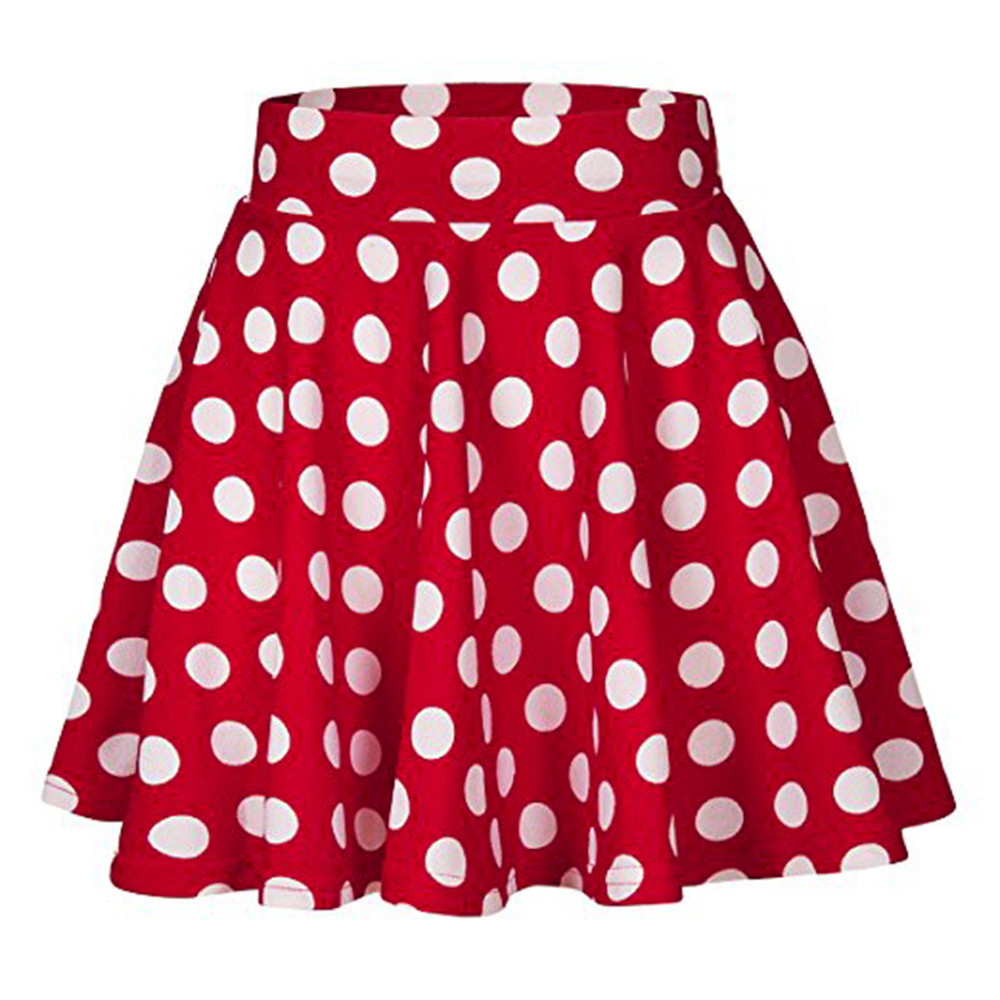 ca4249ad574 Hot Sale Fashion Party Cocktail Summer Women Dot Printed Skirt High Waist  Midi Skirt Red Black