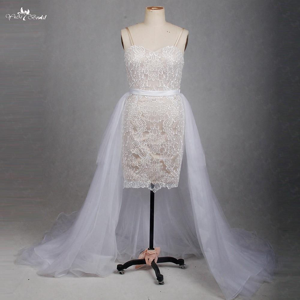 RSW1268 Detachable Skirt Wedding Dress Short Front Long