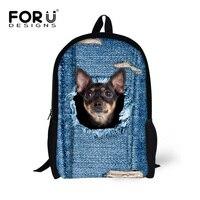 Cute Pet Dog Cat Printing Backpacks For Teenage Girls Stylish Funny Puppies Children Back Packs Denim