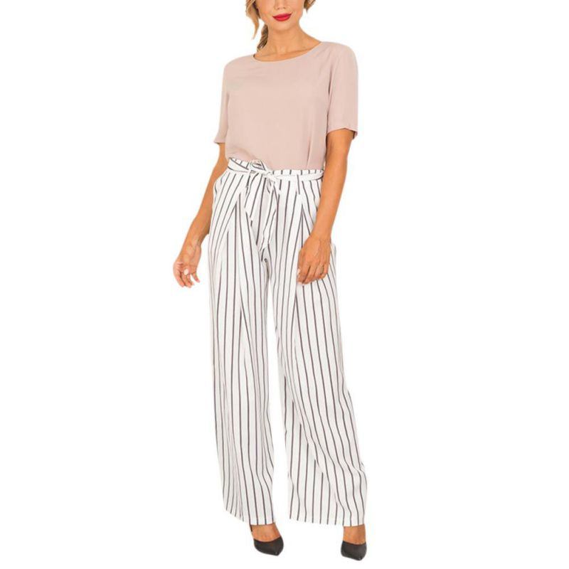 Fashion Women Office Lady Cotton   Wide     Leg     Pants   Full Length Loose Striped Trousers