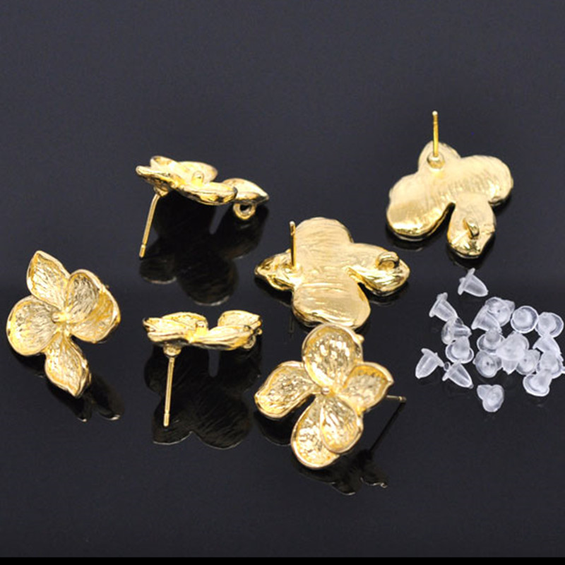 100Pcs Gold Plated Flower Earring Posts With Rubber Stopper Fashion Jewelry Component 24x22mm