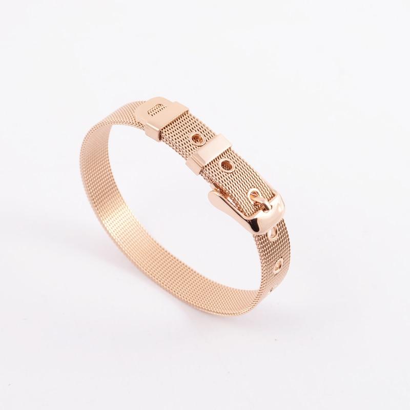 Femmes Hommes argent or rose En Acier Inoxydable maille fil bracelet  réglable ceinture boucle bande de montre bracelet bijoux 4232918e594