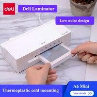 Deli 2897 Mini tamanho Hot & Cold laminador laminador A6 max. foto 115 milímetros de largura laminador Automático 220-240V Hz 50