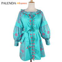 Palenda 2016 V Neck Bandage Color Block Tassel Lantern Long Sleeve Embroidery Bohemian Female Dress Korean
