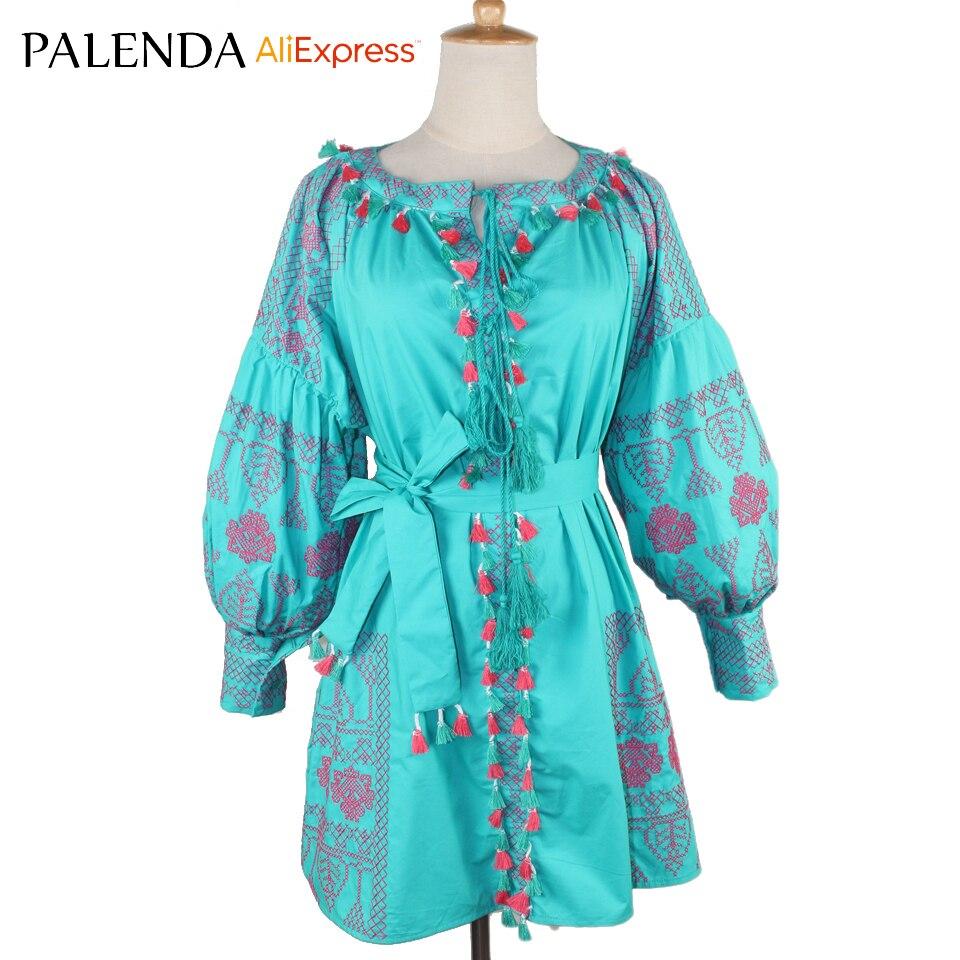 V-výstřih obvaz barevný blok střapec lucerna s dlouhým rukávem výšivka bohémské ženské šaty korejský styl zelená růžová