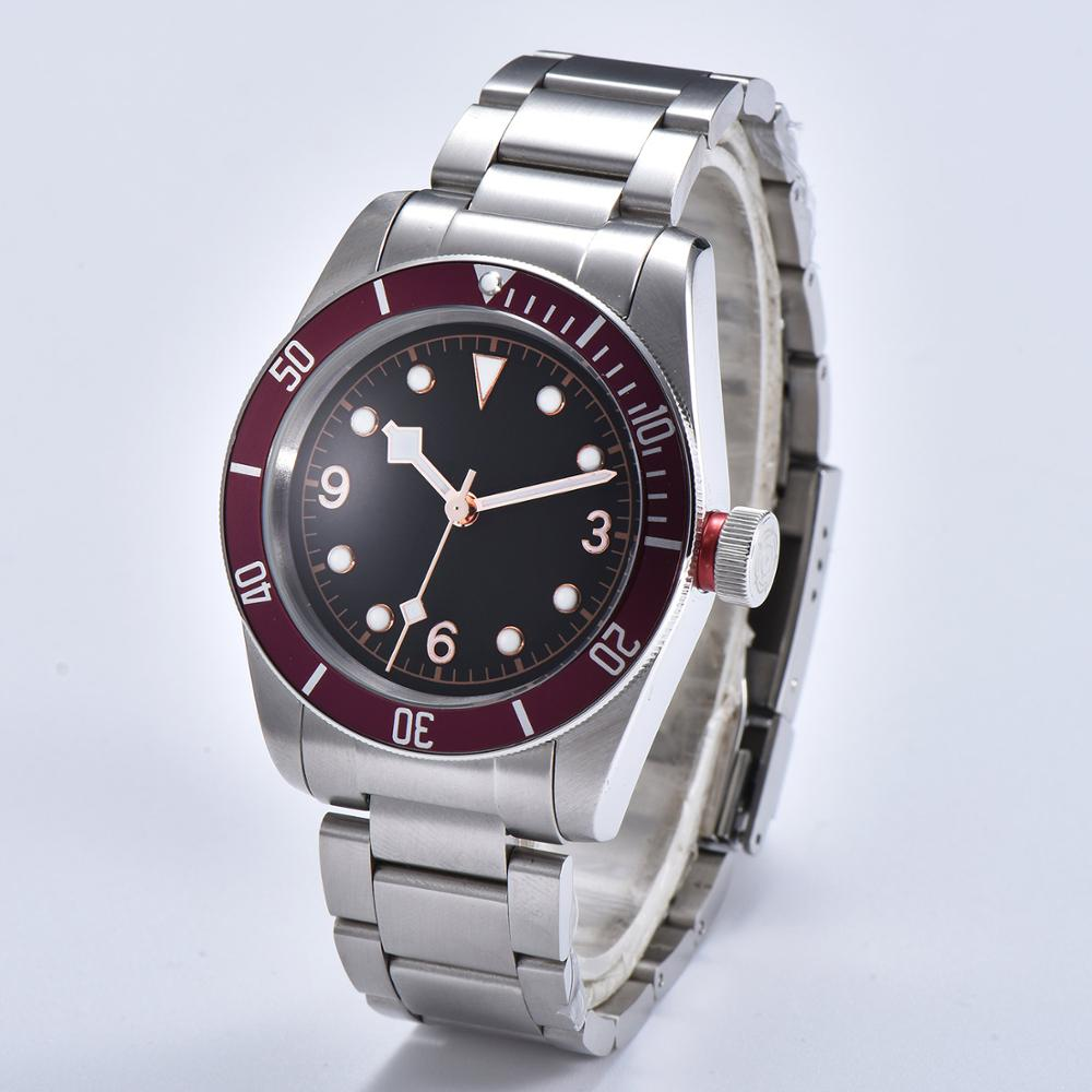 mens automatic watches 41mm watch network steel case Mineral glass hands luxury red bezel T 13 in Mechanical Watches from Watches
