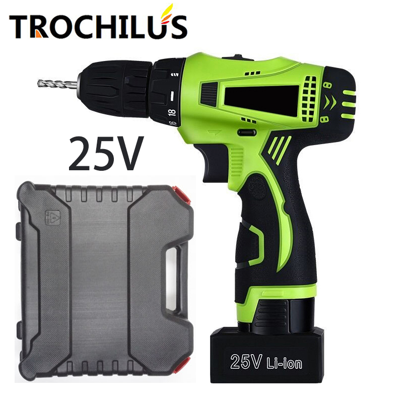 25V Multifunction Power Tools Electric Screwdriver with Lithium Battery Two-Speed Cordless Screwdriver Household Toolbox  factory direct backup power electric tools dedicated lithium polymer battery 604060 2p 124060