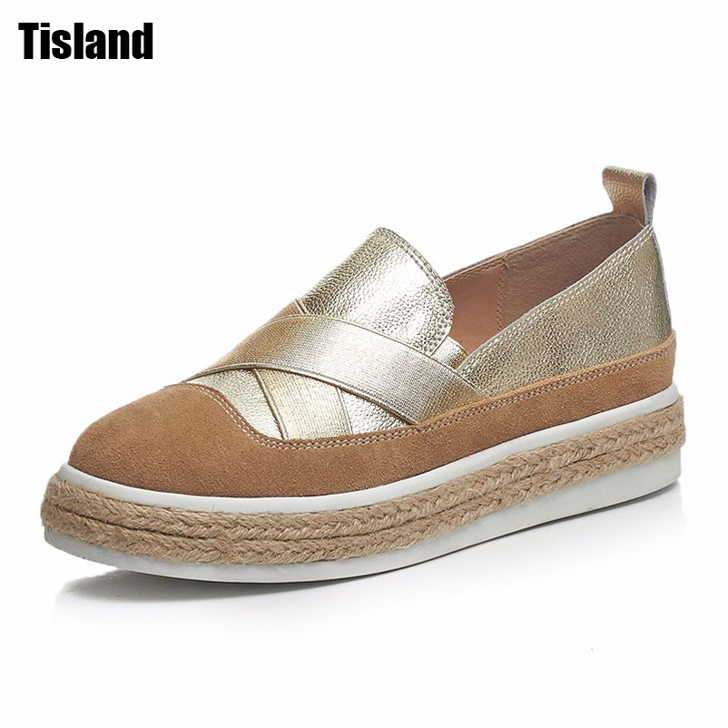 Summer Woman Espadrilles 2017 Genuine Leather Platform Shoes Woman Slip On Flats Girls Lady Loafers Women Shoes Size 35~39 2017 spring women flats pu leather shoes woman pointed toe slip on platform loafers woman creepers casual shoes size 35 40
