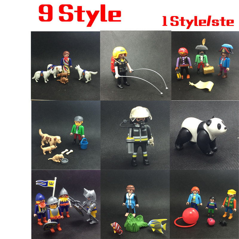 9 Style 7.5cm Playmobil Large Zoo Childrens Zoo Asian Animal Enclosure Police Station Playset Action Figure Kids Gift Toys
