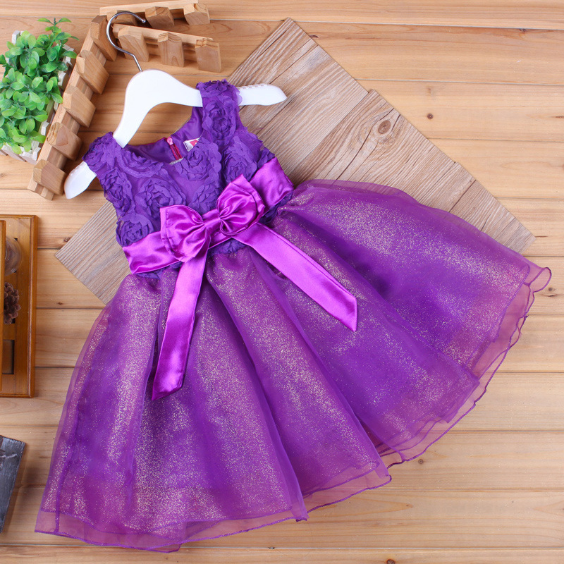 Kids Party Dress Chidren Sleeveless Ball Gown Floral Rose Wedding Dress Red White Blue Purple Bow Girls Above Knee Mini Dress