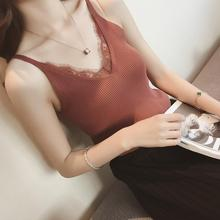Yfashion New Lady Crocheted Lace Camis T-shirt Patchwork Women Sexy V-neck Tank Tops Tee T Shirt