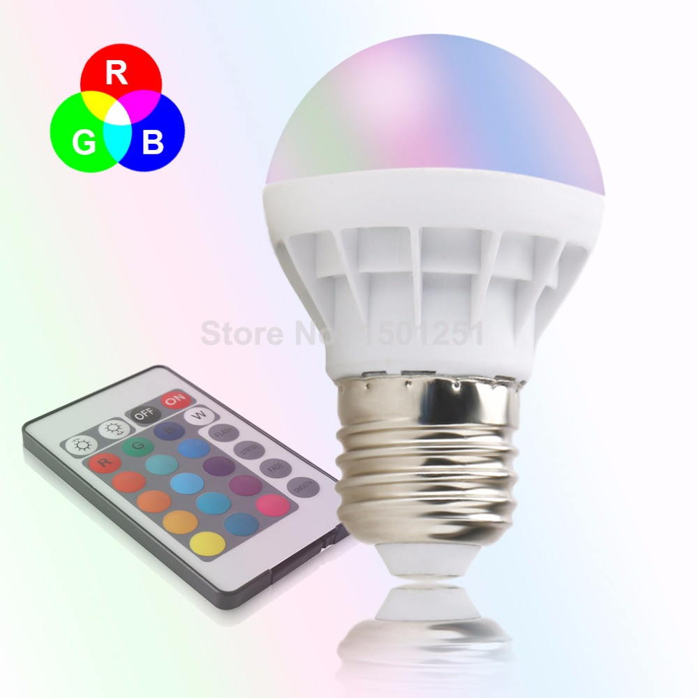E27 LED 16 Color Changing RGB Magic Light Bulb Lamp 85-265V RGB Led Light Spotlight + IR Remote Control Free Shipping led rgb globe bulb e27 e14 3w ac 85 265v 16 colors changing magic light 24key ir remote control home night lighting led bulb