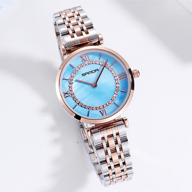 2019 Fashion Shell dial Crystal Women Watches Stainless Steel Luxury Rose Gold Ladies Watch Waterproof Female Clock montre femme