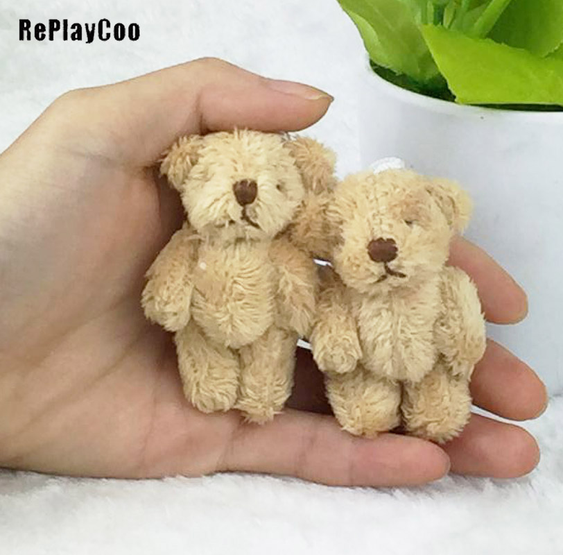 10PCS/Lot Mini Joint Bear Stuffed Plush Toys 6.5cm Cute Light Ted Bears Pendant Dolls Gifts Birthday Wedding Party Decor J00502