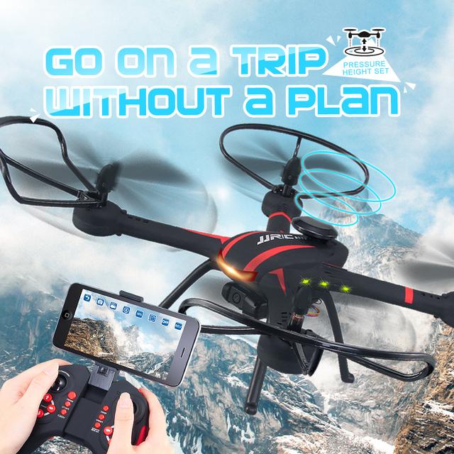 Jjrc h11wh 720 p wi-fi fpv com câmera de 2mp 2.4g 4ch 6 eixos modo headless quadcopter rc helicóptero rtf toys para crianças