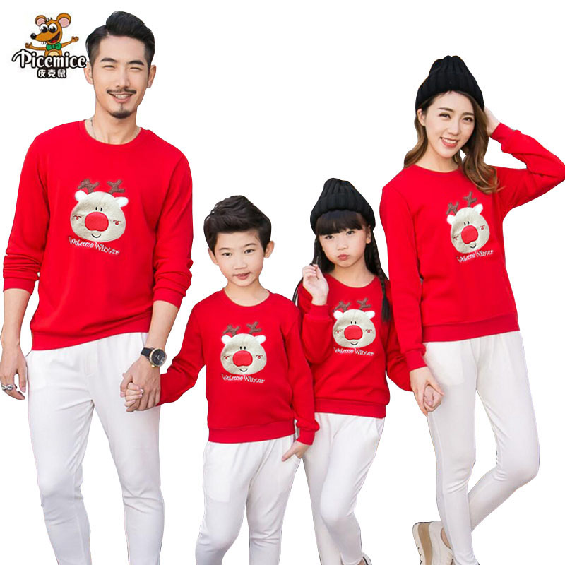 Family Clothing 2018 Christmas Deer Kid shirts Mom...