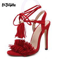 Celebrity Fashion Runway Streetwear Womens Fetish Sandals Open Toe Tassel Fringe Suede Leather Lace Up Ankle