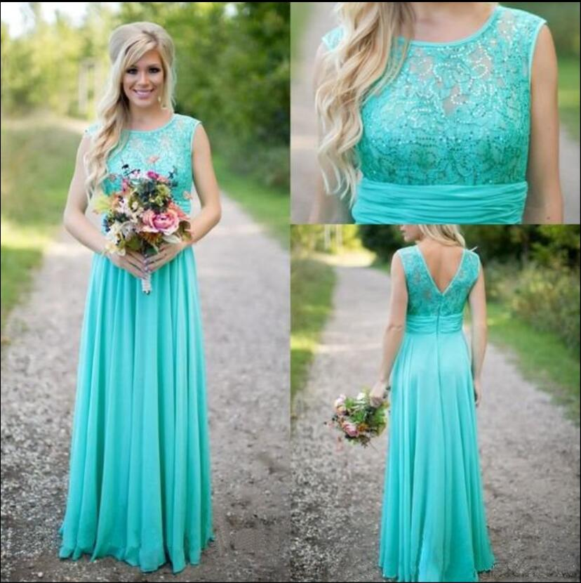 Mint Maxi Chiffon   Bridesmaid     Dresses   Long Lace Top Sleeveless Chiffon Skirt Country Style Brides Maid Gowns Custom Made New Sale