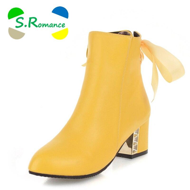 S botas de tobillo romantic para mujer zapatos de mujer talla grande 34 43 tacones altos para mujer zapatos de goma botas 2018 botines negro SB088-in Botas hasta el tobillo from zapatos    1