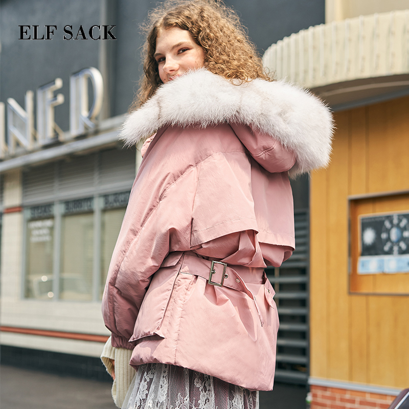 ELF SACK Stylish Autumn Winter New Warm 90% White Duck   Down     Coats   Femme Casual Wide-waisted Solid Loose Women   Down     Coats