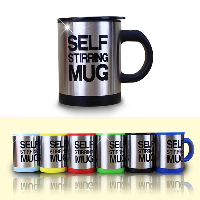 Creative Coffee Mug 400ml Stainless Steel Surface Cup with Lid Lazy Automatic Self Stirring Mug Double Insulated Smart Cup