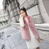 Для женщин полным ходом осень жилет натуральным лисьим Мех животных Модная новое пальто Высокое качество выше Размеры жилет женский роскош